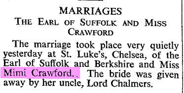 Wedding announcement: The Times March 8th 1934