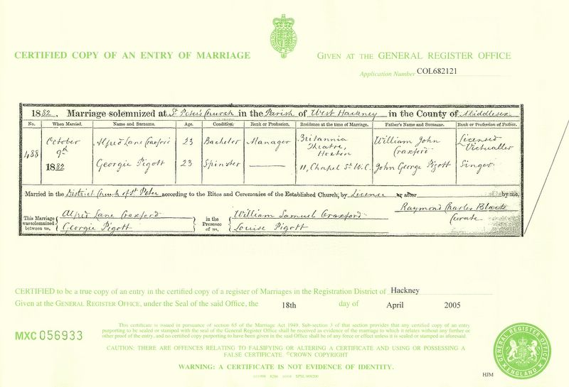 Marriage certificate of Alfred Lane Craxford to Georgina Pigott (1882)