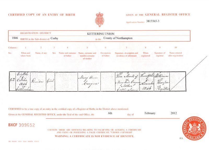 The birth certificate Louisa Crane (1846)