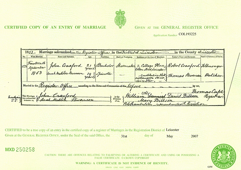 Marriage certificate for John Craxford (1853)