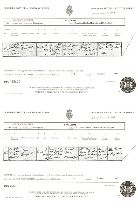 Death certificates for Jane Craxford (1865)