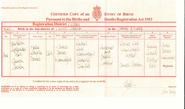 Birth certificate for Nellie Roberta Wainwright