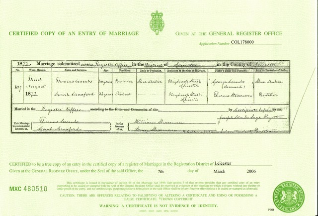 Marriage certificate for Thomas Coombs