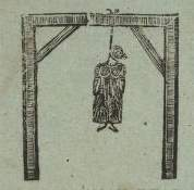 Hanged woman: Woodcut from the contemporaneous article