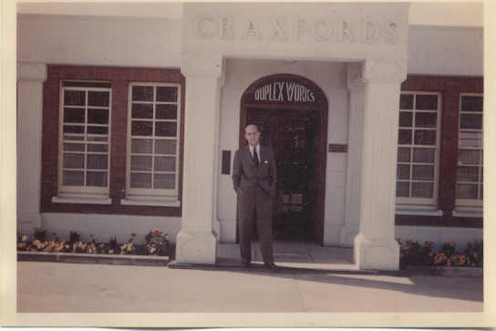 Arthur Craxford outside the factory
