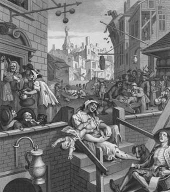 Gin Lane by William Hogarth, engraving 1671