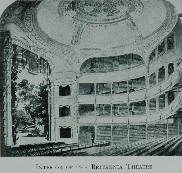 Illustration of interior view of the Britannia Theatre