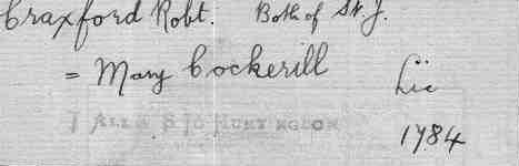 The marriage certificate of Robert Craxford and Mary Cockerill,