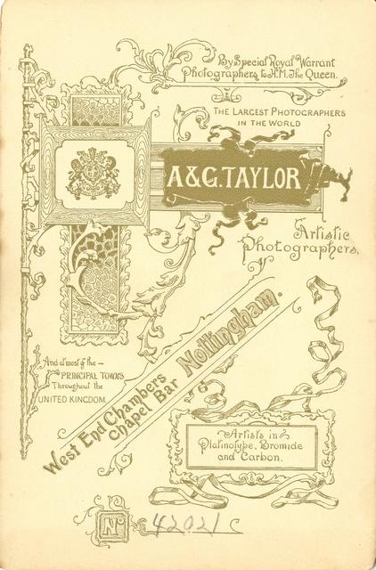 Reverse of card showing advertisement for showing A&G Taylor