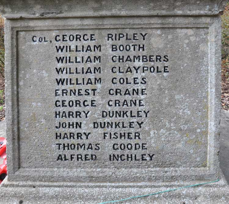Claypole dedication on the north face of the memorial