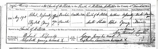 Marriage certificate: the surname appears to be Nefsworthy