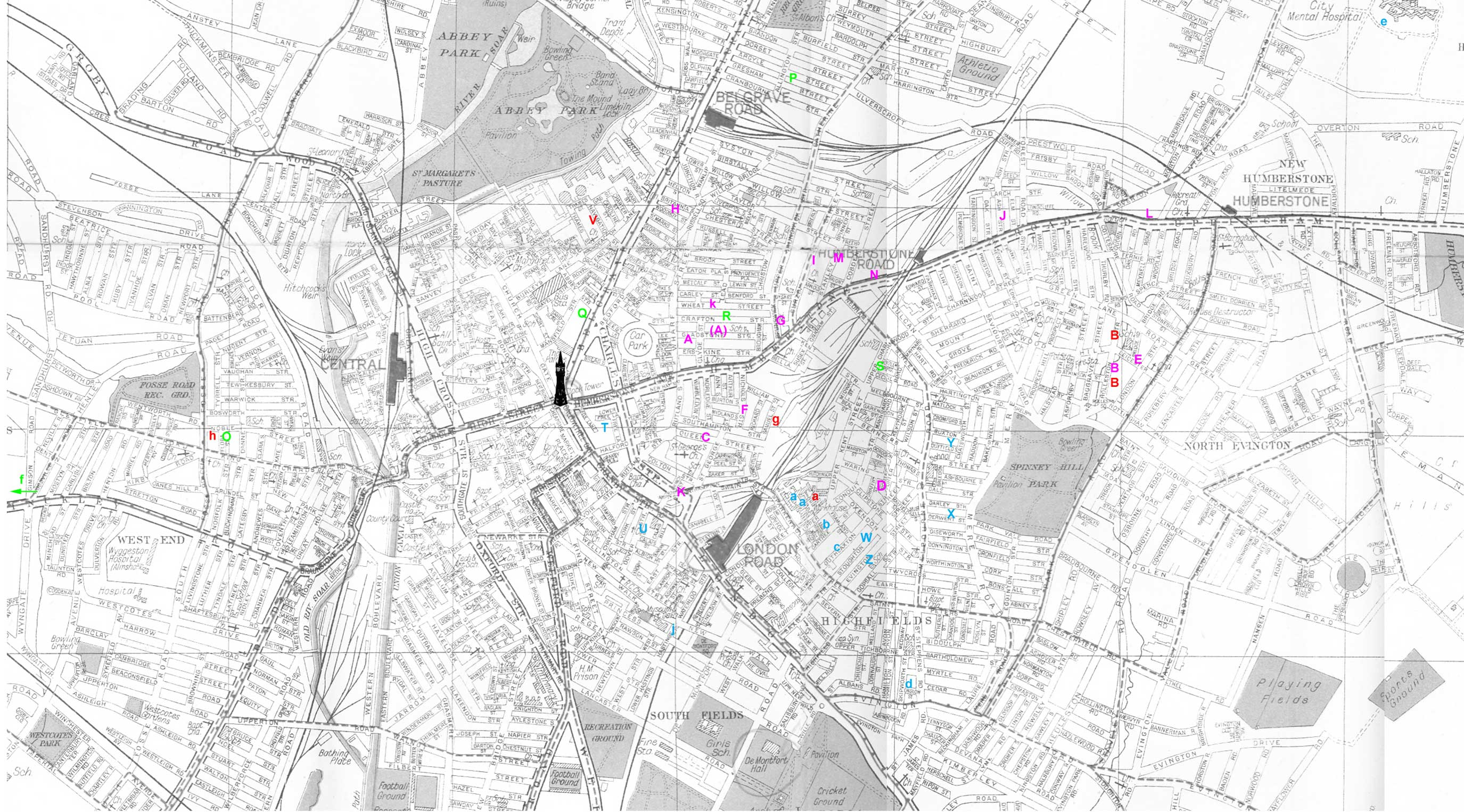 A map of central Leicester with the locations of Crane residences superimposed.