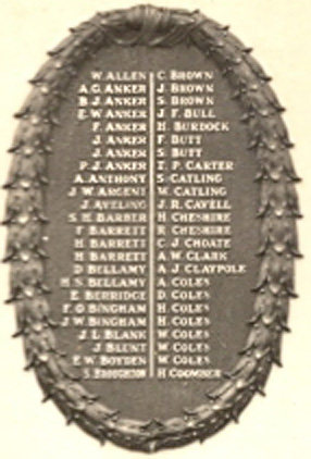 Detail from the Whittlesey War Memorial: Go to ORANGE page 2