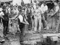 Navvies at work building the Manchester Ship Canal