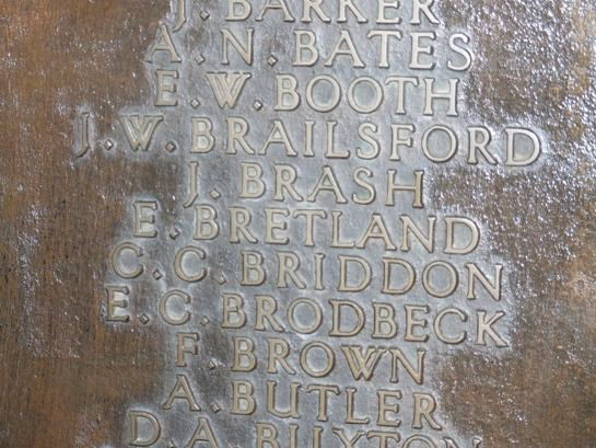 Detail from the West Bridgford Memorial Plaque